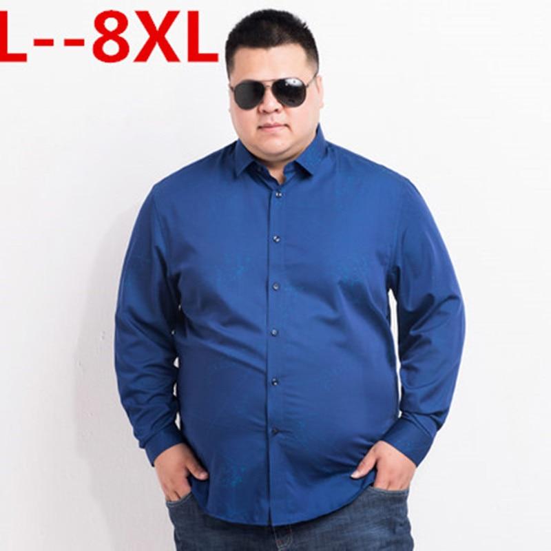 2018 plus size 5xl 6XL 7XL 8XL Oxford Shirt Men Casual Shirts Long Sleeve Mens High Quality Slim Fit Dress Shirts Cotton