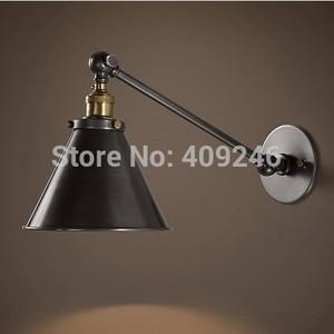 Loft Vintage Industrial Adjust Wall Swing Arm Lamp Matte Black Wall Lamp Cafe Bar Club Coffee Shop Store Hall