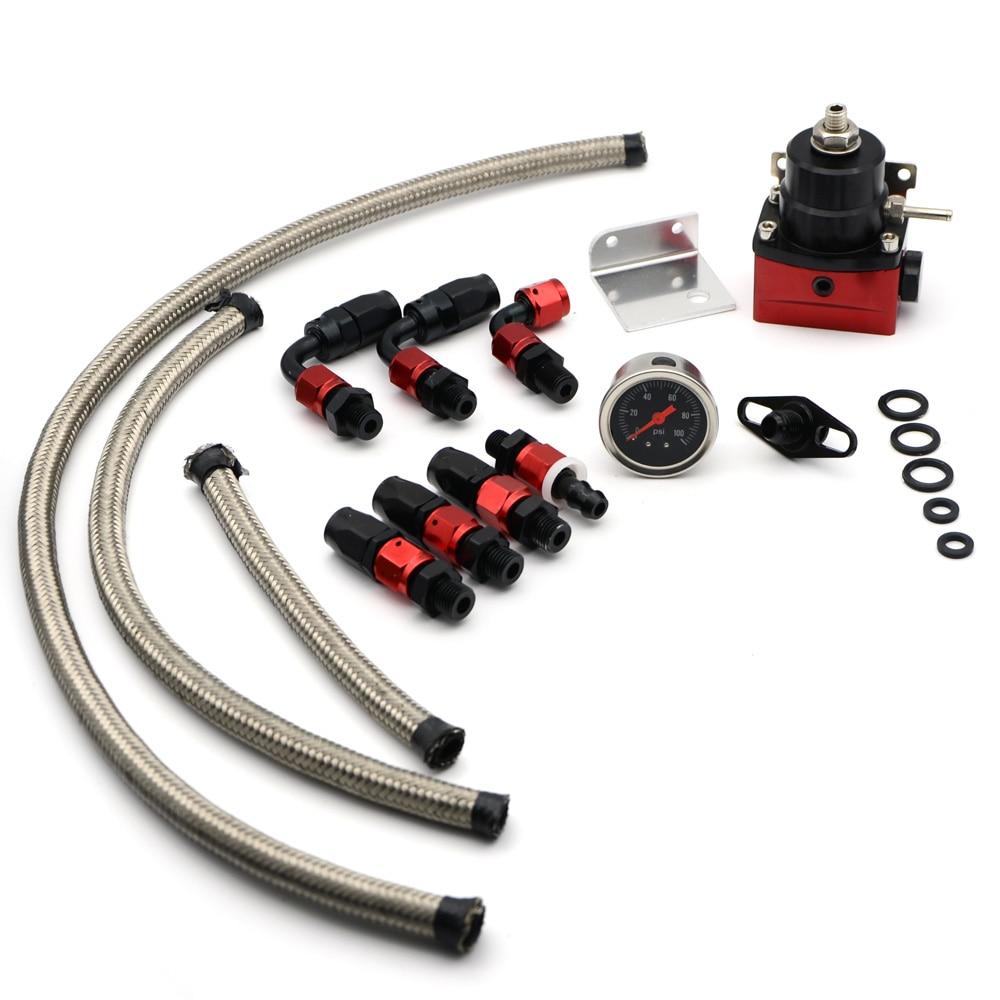 Aluminum Racing Auto Fuel Pressure Regulator Kits Full Kit Fuel Regulators With Gauge With Logo