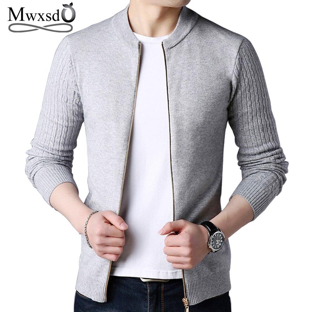 Mwxsd marca outono masculino casual zíper cardigan camisola masculina sólida cashmere malha camisola casaco masculino pull homme cardigan