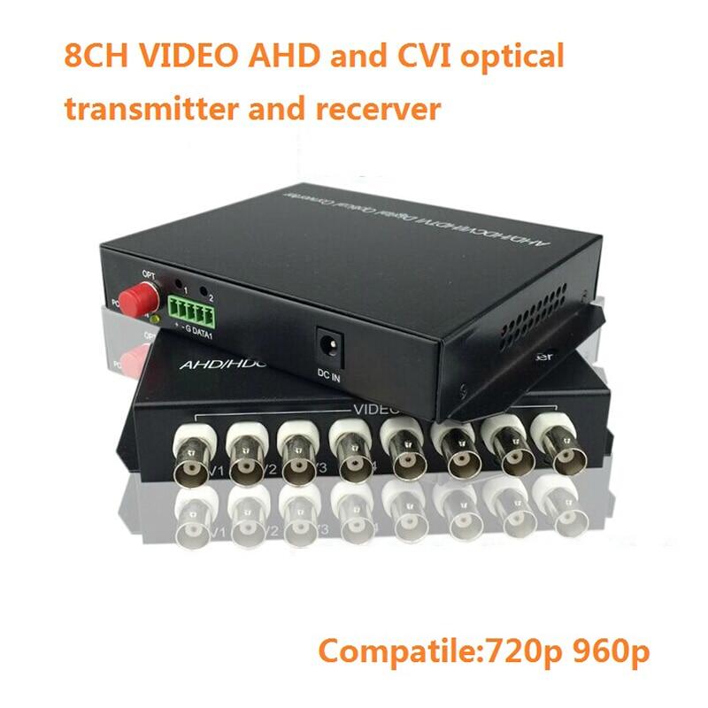 Digital video optical 2-8 channel AHD DVI CVI Video Converter FC 20km fiber reverse RS485 data