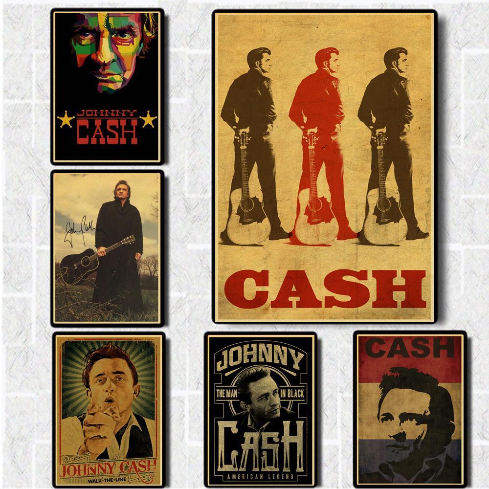 Постеры в стиле кантри музыкальный певец Джонни наличные постеры хорошее качество картина винтажный постер крафт-бумага для декора/наклее...