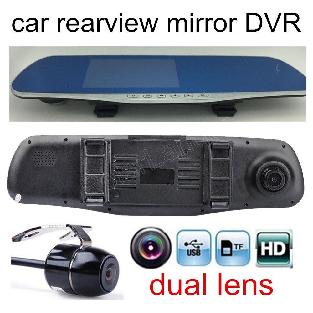 Hohe qualität 4,3 zoll Auto DVR Bewertung Spiegel Dual lens objektiv FHD 1080 P auto video recorder umfassen rückfahrkamera park camcorder
