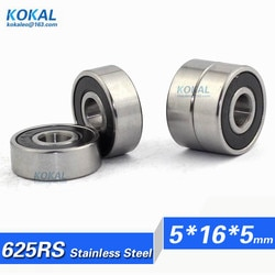 [S625RS] Frete Grátis de alta qualidade 10 PCS aço inoxidável precisão 625RS ABEC-3 rolamento 5*16*5mm 80025 625-2RZ bearing 625-2RS