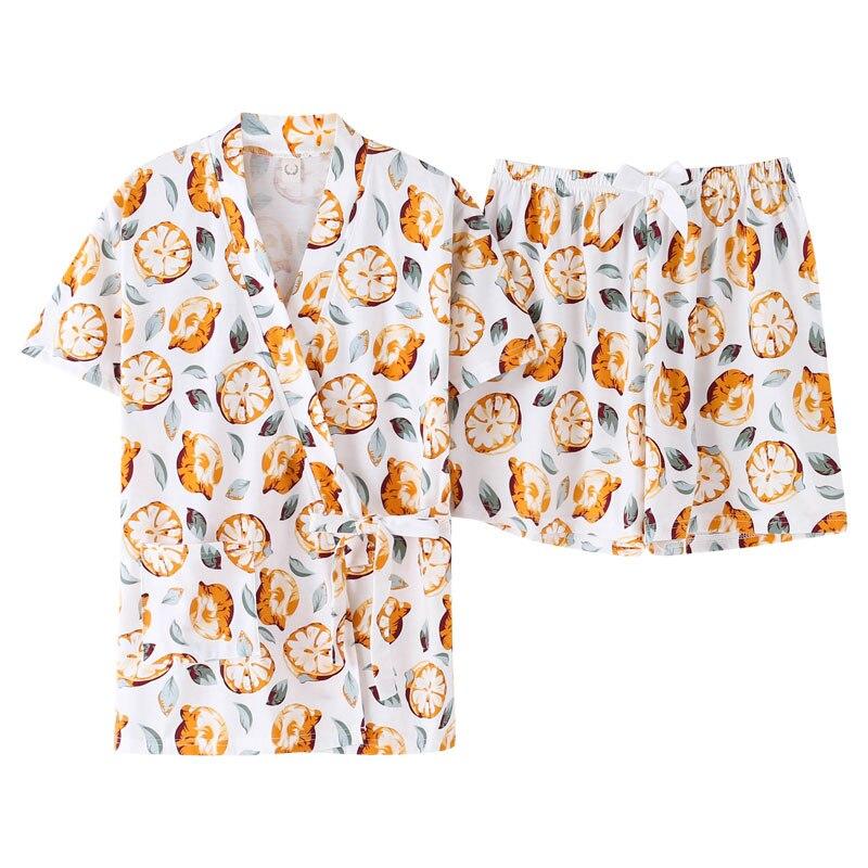 Verano pequeño fruta fresca patrón kimono chino pijama bata femenina conjunto 100% algodón tops + Pantalones cortos Pijamas talla grande M-3XL ropa de dormir