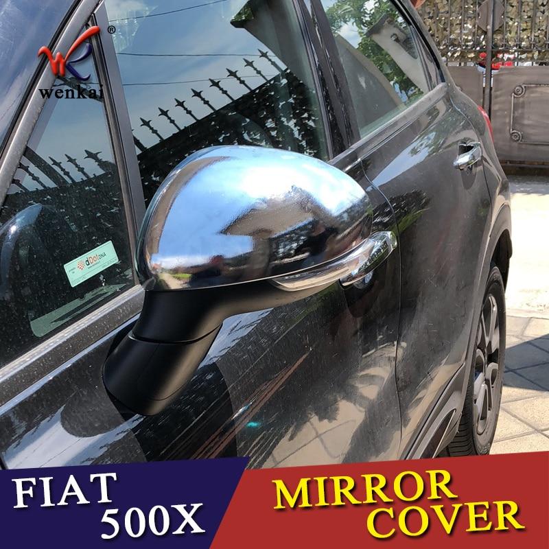Diseño de cubierta de coche para FIAT 500X 2014 2015 2016 2017 2018 2019 ABS cromo guardabarros lateral tipo alerón espejo retrovisor de puerta tapa embellecedor