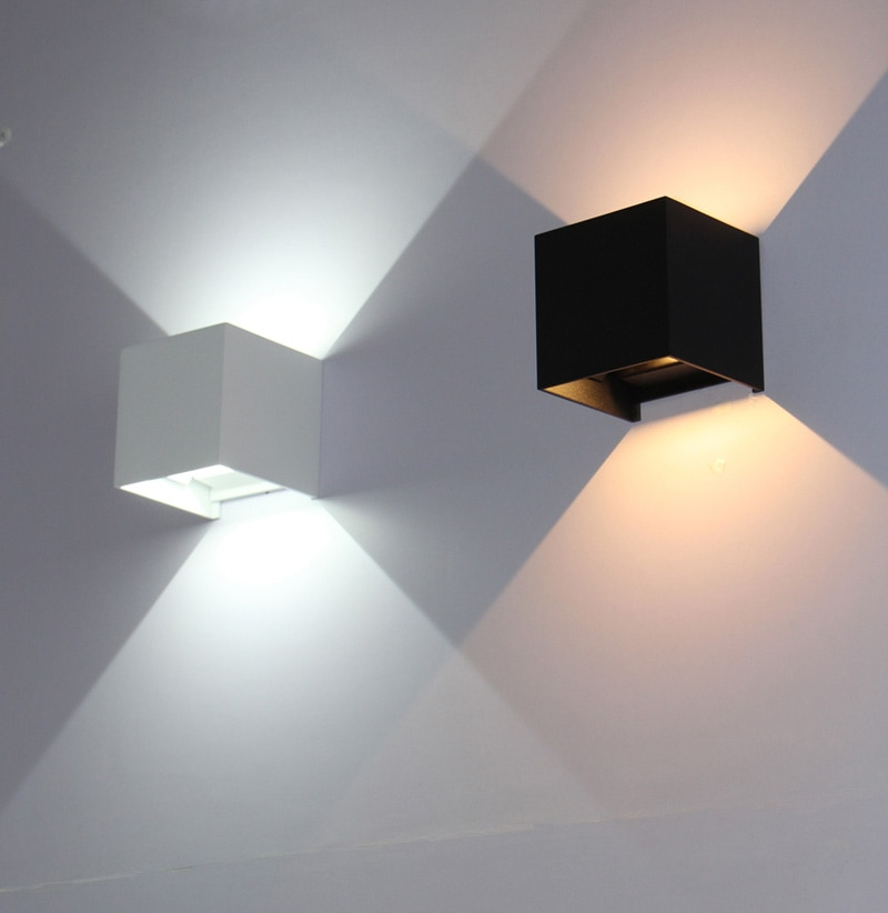 Cubo IP65, iluminación Led montada en superficie ajustable para exteriores, luz de pared Led para exteriores, lámpara de porche para pared vertical