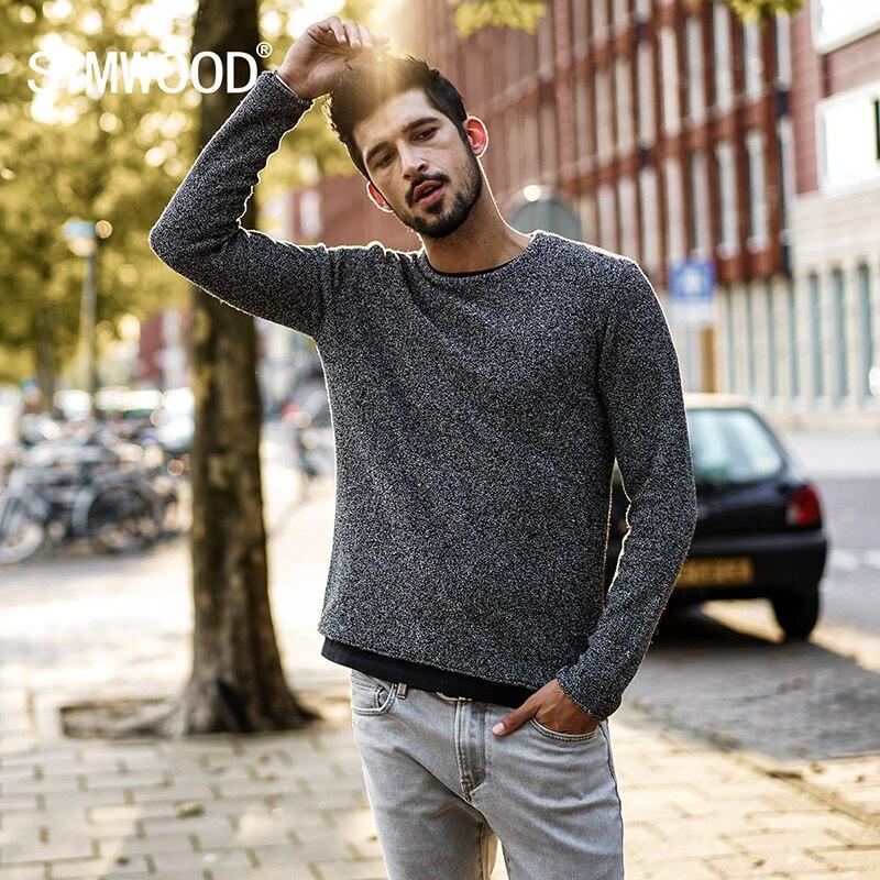 SIMWOOD 2019 otoño invierno nuevo suéter informal hombre suéteres tejidos de lana de colores moda Slim Fit regalo de Navidad masculino MT017026
