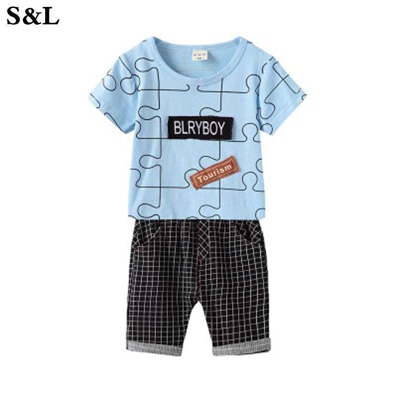 Summer Boy Set Geometric Puzzle Pattern Short Sleeve T-Shirt with Plaid Pants 2 Piece Se