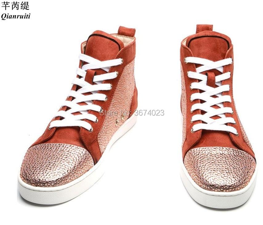 Qianruiti-أحذية رياضية للرجال ، أحذية رياضية عالية الجودة من الكريستال ، نعل مسطح من حجر الراين ، غير رسمي