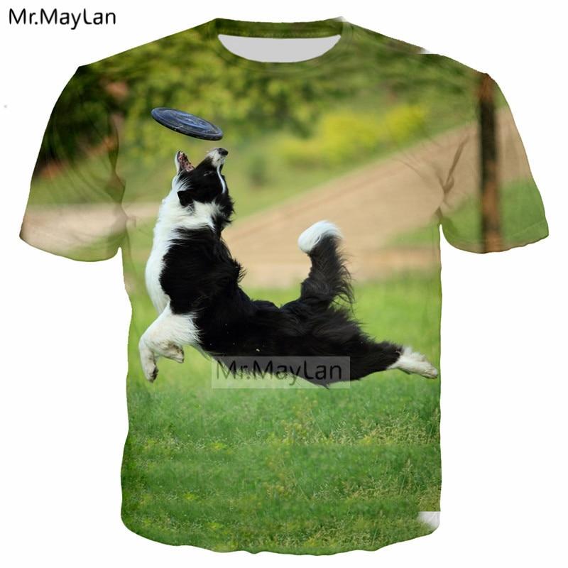 Smart pet fronteira collie impressão 3d frisbee cachorro camiseta masculina/feminina streetwear t camisa meninos modis bonito roupas verdes 6xl
