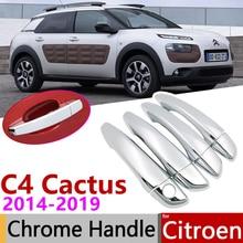 for Citroen C4 Cactus 2014~2019 Luxuriou Chrome Exterior Door Handle Cover Car Accessories Stickers Trim Set 2015 2016 2017 2018