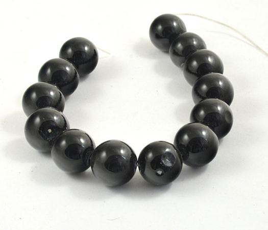 Perlas únicas, tienda de joyería, superb, Ágata negra grande, redonda, 16mm, perlas sueltas de piedras preciosas, hebra completa, LC3-340 de 15 pulgadas
