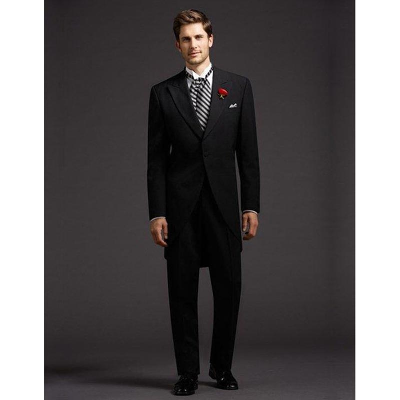 2017 trajes de hombre especiales a medida un botón abrigo negro Caballero vestido abrigo hombres boda traje Chaqueta larga Terno (chaqueta + Pantalones)