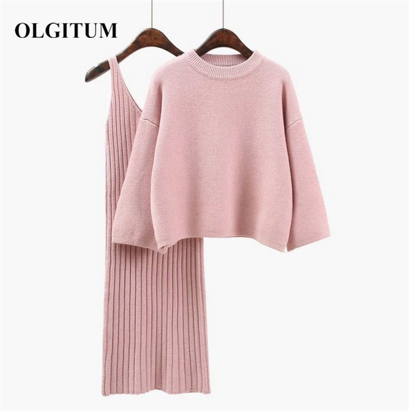 2020 Autumn Winter Women Wool Sweater Suits 2019 Sweet Pink Kniting Pulloverand Sweater Sets Casual Long sleeve +Long Hip Skirt