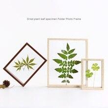 5/7/8/10 pouces Simple plantes spécimens Double face cadre en verre en bois massif créatif décor cadre bricolage Art Photo cadre Photo cadeaux