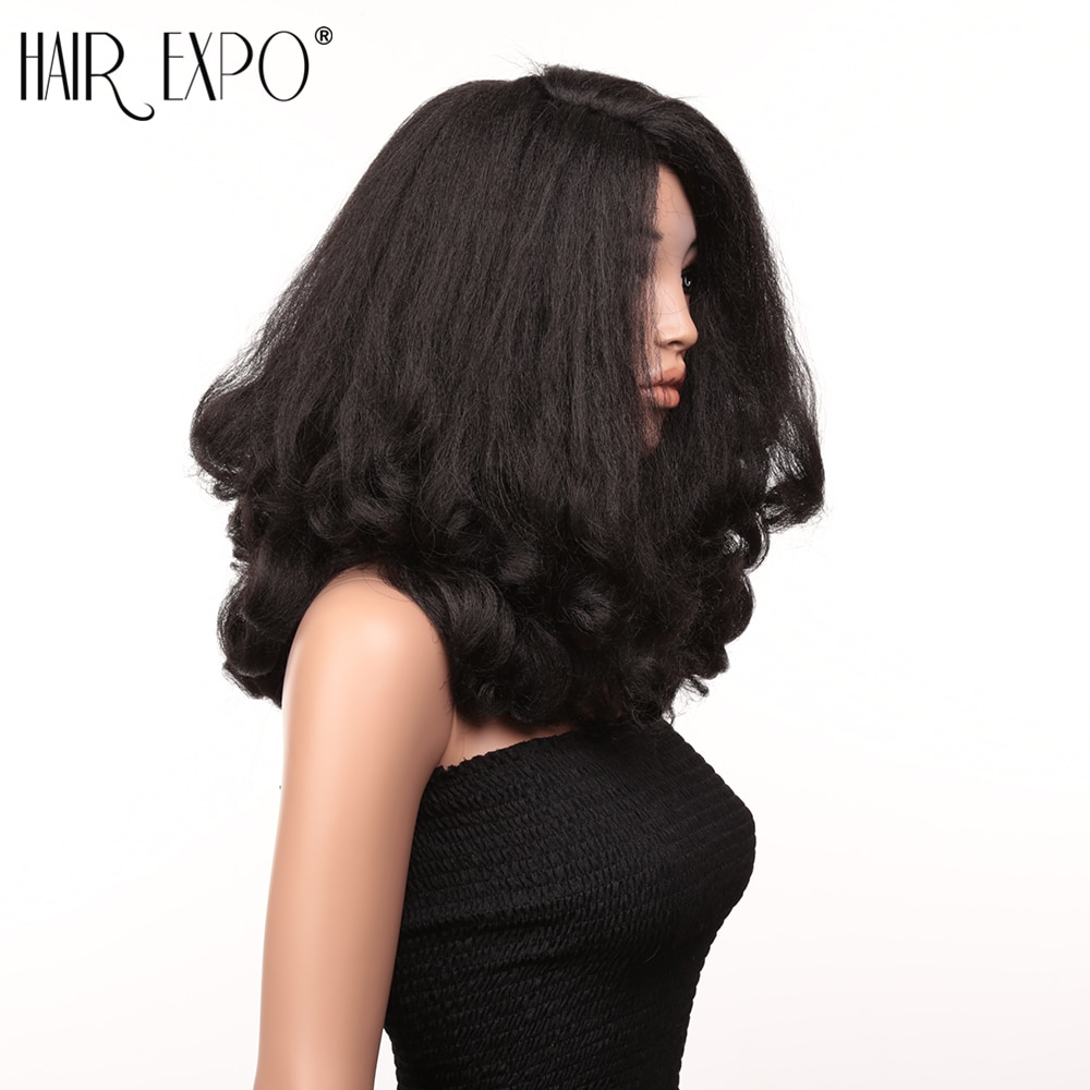 Peluca de pelo sintético de onda suelta de 20 pulgadas prearrancada con Peluca de pelo sintético para bebé, peluca de Cosplay mullida resistente al calor para mujeres negras, Hair Expo City