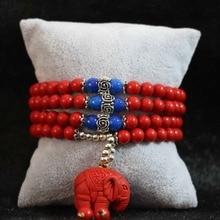 Plus de rangées nouveau synthétique rouge cinabre 6mm 108 perles éléphant pendentif en gros détail bracelet bijoux B796