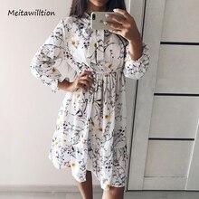 Verão outono chiffon vestidos 2020 casual manga longa floral impressão vestido de festa feminino cintura alta elástica vestido boêmio