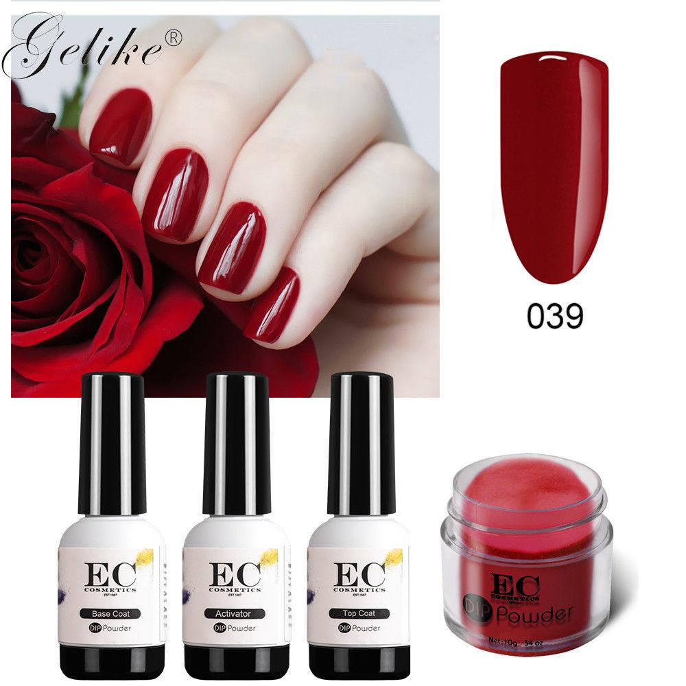 Gelike dip acrílico gel pó polonês prego aprimoramento 10g francês manicure diy semi permanant led verniz arte cor do prego em pó