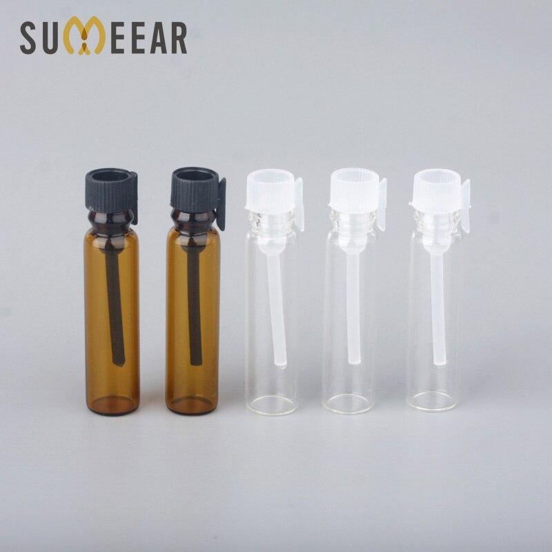 100Pcs/lot 1ml Amber Glass Essential Oils Trial Pack Tube Perfume Bottle Transparent Glass Perfume Bottle Test Tube for Sample