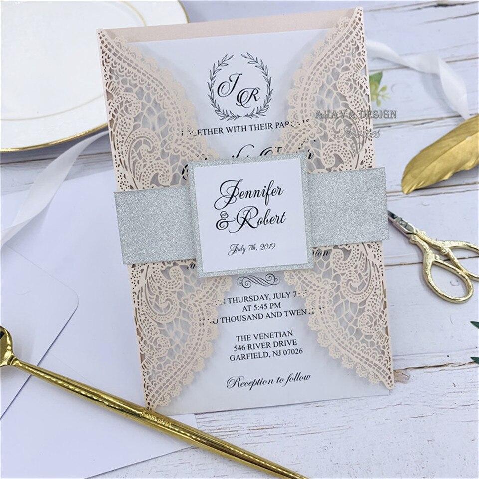 Luxo Pérola Rosa Laser Cut Do Convite Do Casamento Com Brilho Cinza banda Barriga, Inserir Personalizada