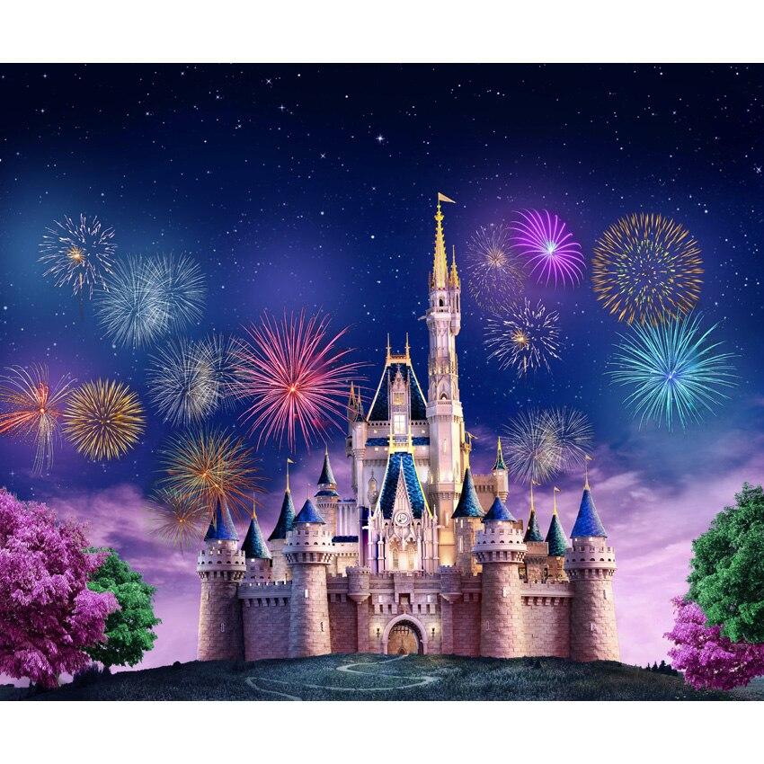 Horizontal fantástico fogo de artifício fotografia pano de fundo fairyland para estúdio de fotos princes castelo f fundo de fotografia