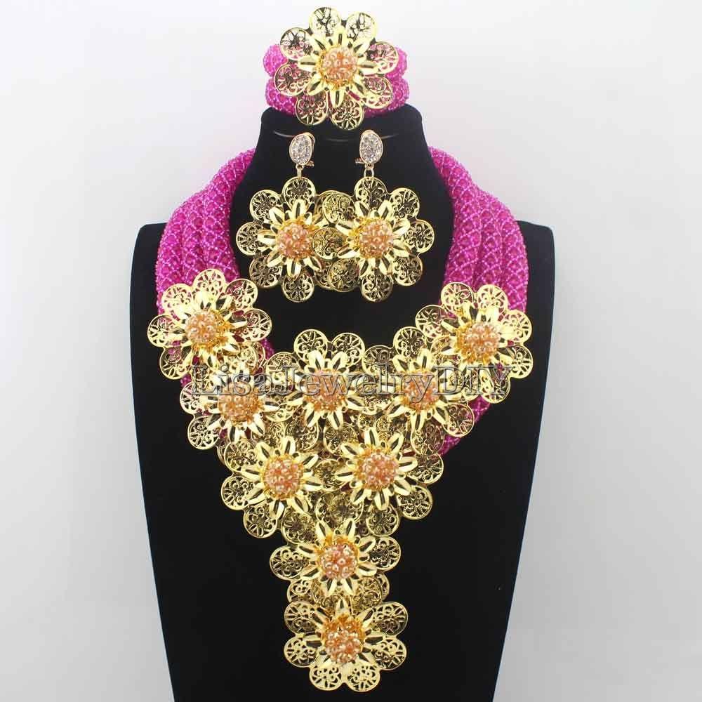 Splendid Fuschia Pink/ Crystal Statement Necklace Set Wedding African Beads Flower Jewelry Set for Women Free ShippingHD8707