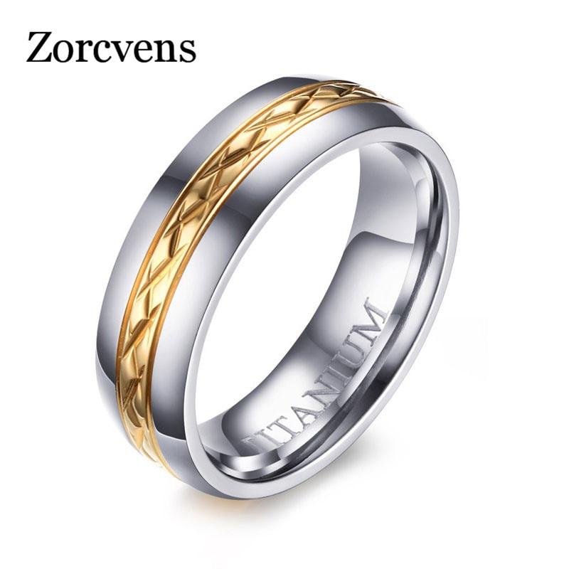 Anillos de titanio marca ZORCVENS para mujer, anillo de titanio de Color dorado, boda de alta calidad