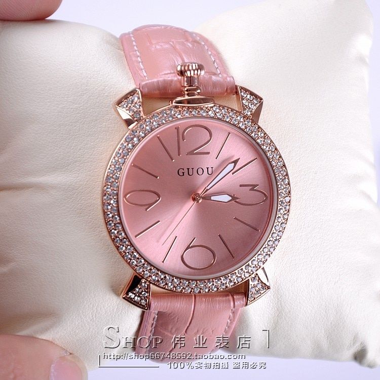 purple rose gold women luxury brand full rhinestone watch ladies genuine leather band quartz watch women famous wristwatch enlarge