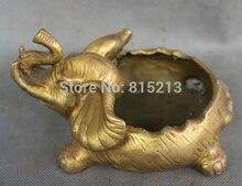 bi00736 Chinese Brass Folk Sculpture Animals JiXiang Wealth Elephant Statue Ashtray