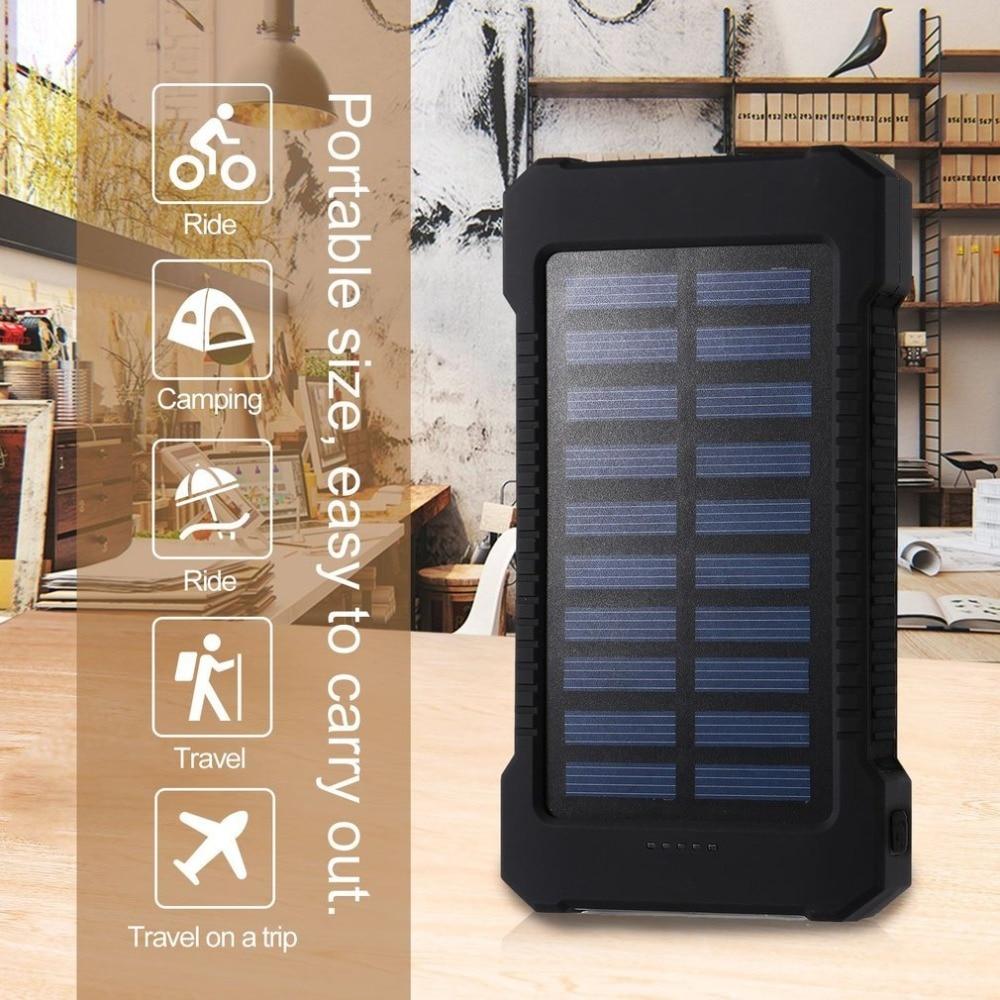 Banco de energía Solar portátil de 30000 mah, batería externa trasera resistente al agua de 30000 mah, Banco de energía, cargador de batería de teléfono, Banco portátil LED