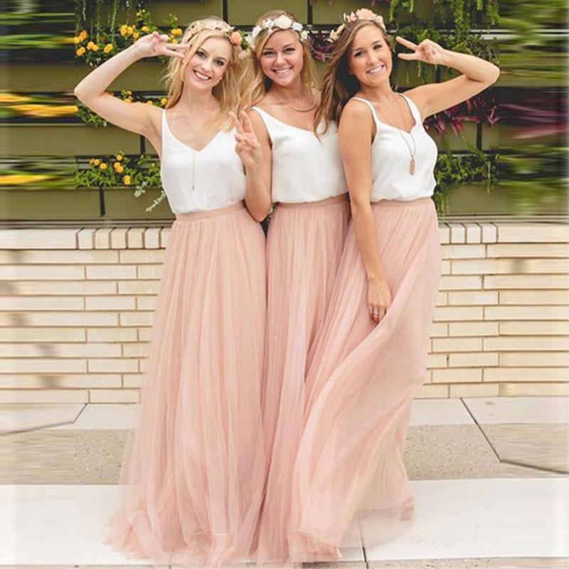 Falda de tul suave de 3 capas para dama de honor, falda larga Maxi Rosa barata personalizada, falda tutú de boda, 56 colores disponibles de talla grande