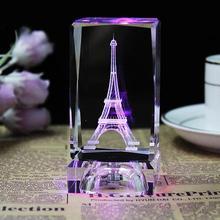 Tour Eiffel chaude 3D Laser gravé tour de cristal gravure Figure méduse presse-papiers Led table de nuit décor à la maison