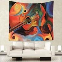 creative abstract musicial guitar indian tapestry hippie mandala wall hanging bohemian bedspread dorm decor wall carpet 51x60