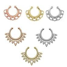 2019 vente chaude nouveau faux nez anneaux et goujons indien Piercing septum clip anneau cerceau pour femmes bijoux de corps