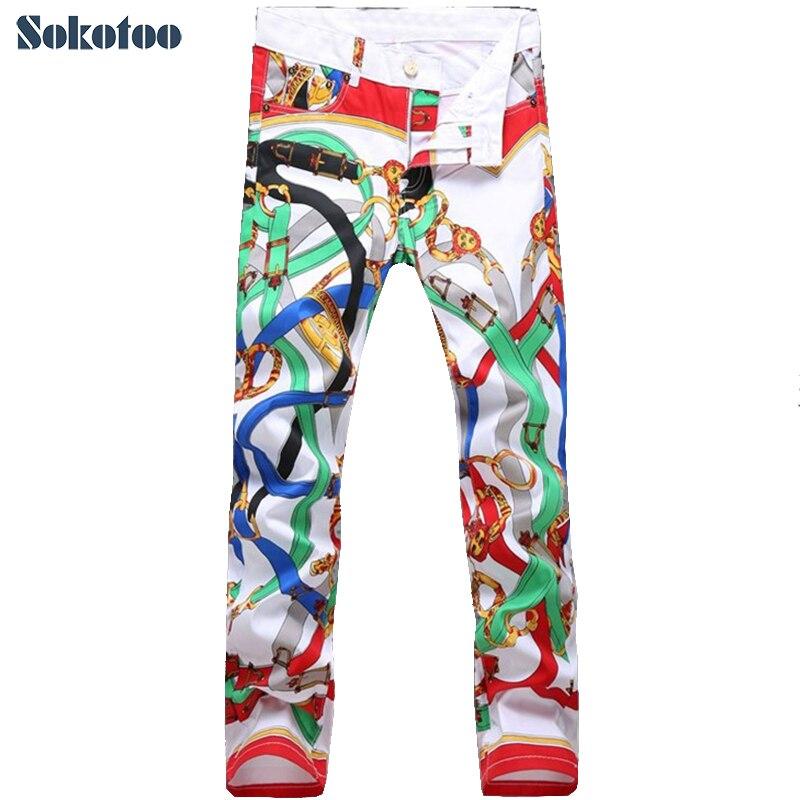 Sokotoo-بنطلون جينز رجالي مطبوع ، بنطلون طويل ، ضيق ، ملون ، عصري