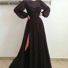 ANGEL NOVIAS manches longues perles noires Abendkleider arabe robe de soirée 2018 Vestido Sirena Largo sukienka dluga sur mesure
