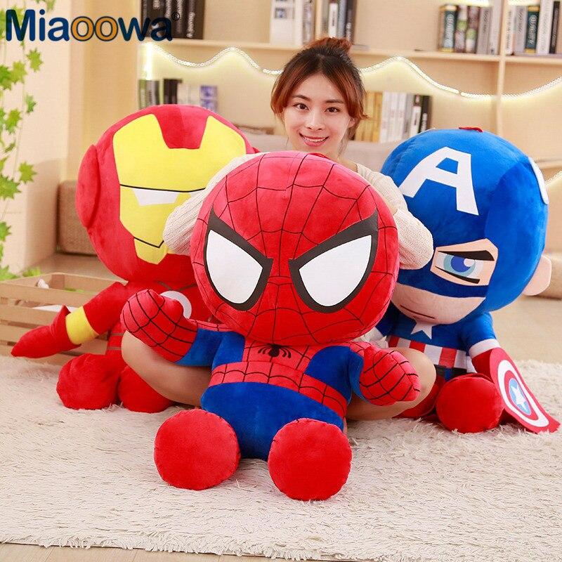 3 unids/lote 25cm dibujos animados Super héroe Capitán América Iron Man Spiderman peluche muñeco de peluche suave los Vengadores película fan para niños