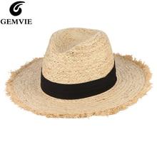 GEMVIE-chapeaux dété pour femmes   Frange gland en raphia, chapeau de paille avec ruban noir, pliable grand bord, chapeau de soleil pour hommes, casquette de plage, Panama