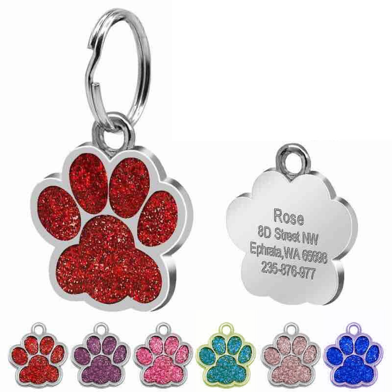 personalized pet id tag dog cat nameplate aluminum collar accessories free customized engraving tags Personalized Customized Dog ID Tag Engraving Metal Pet Cat Name Tags Collar Accessories Pendant Nameplate Glitter Keyring