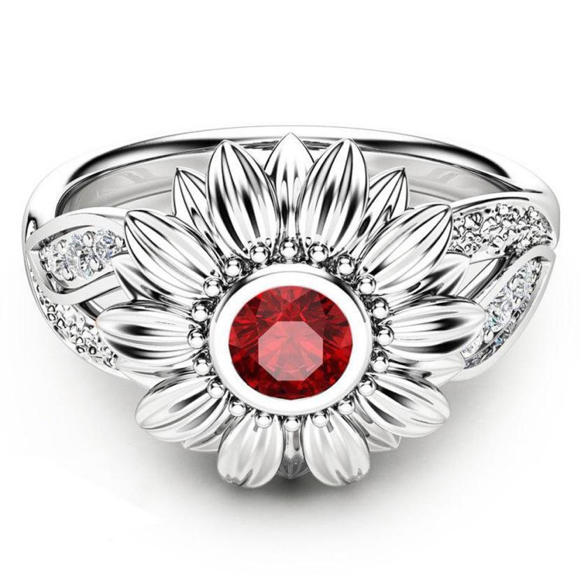 ¡Novedad de 2018! Exquisito anillo de girasol rojo redondo con flores de dos tonos para mujer, regalo increíble gran oferta Mar 12