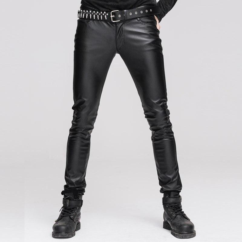 Diabo moda steampunk homem preto sexy calças de couro do plutônio gótico punk casual estiramento apertado magro chaparajos