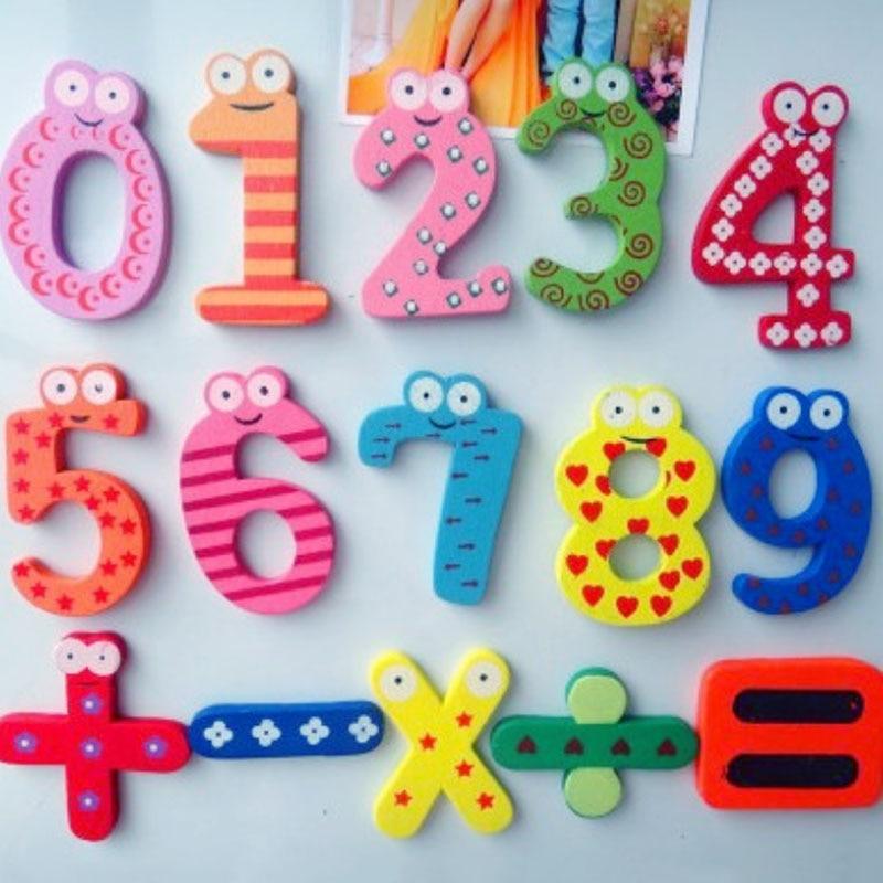15 unids/set imán chico educación Linda aprendizaje bebé juguete 10 número cinco símbolos nevera pegatinas de madera