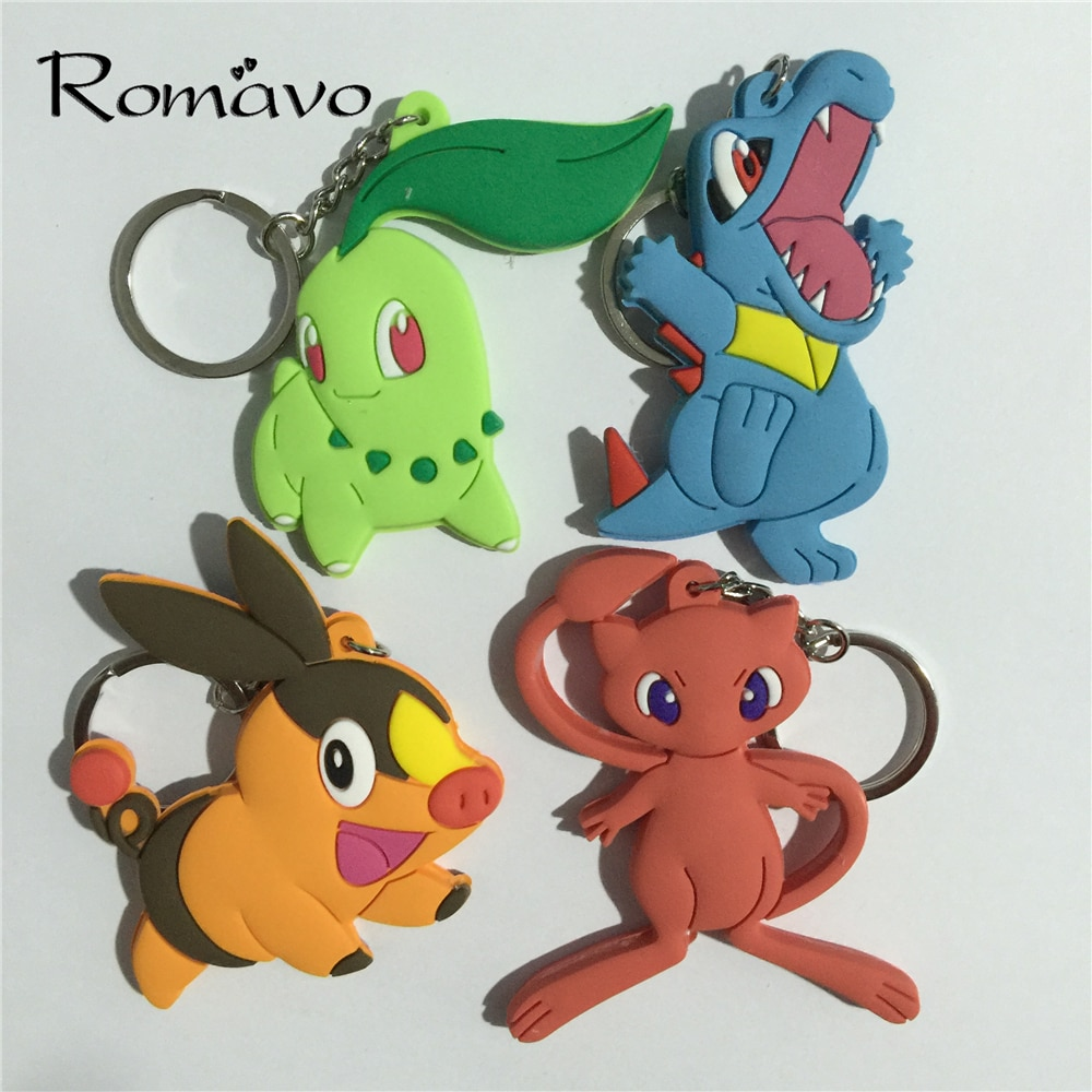 Figuras de acción de Llavero de Pokemon go, monstruos de bolsillo, 4 estilos, Tepig, Totodile, Chikorita, Plusle, Minun, colgantes, muñeco, Llavero