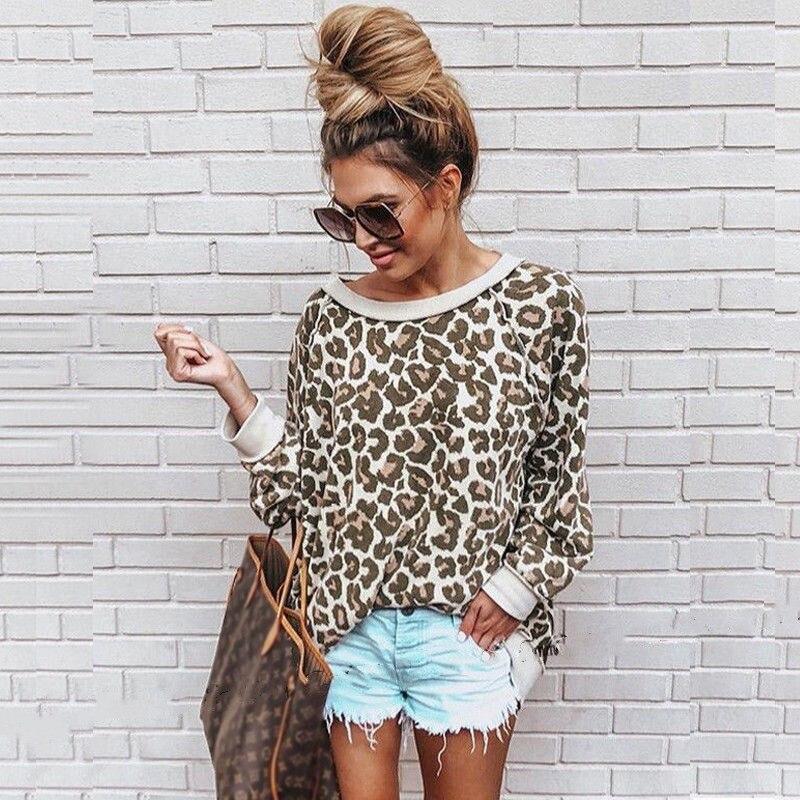Mujeres Casual leopardo impreso Pullover suelto sudadera elegante mujer Otoño Invierno Caliente manga larga Tops señoras sudaderas