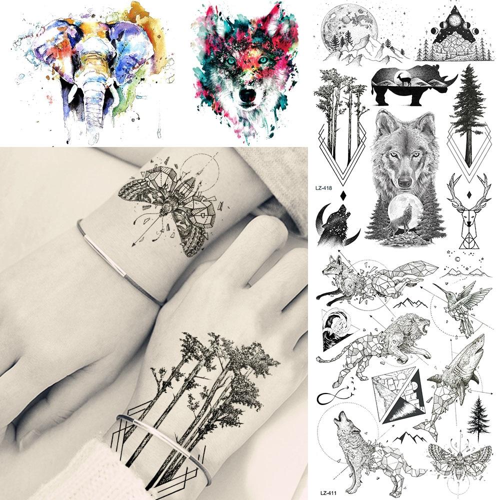 Наклейки для татуировок, черные, сосновые, лесные, волки, геометрические, на заказ