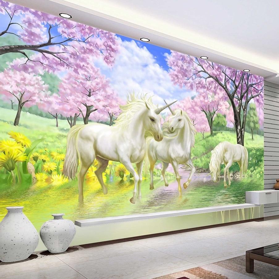 Custom 3D Mural Wallpaper Unicorn Dream Cherry Blossom TV Background Wall Pictures For Kids Room Bedroom Living