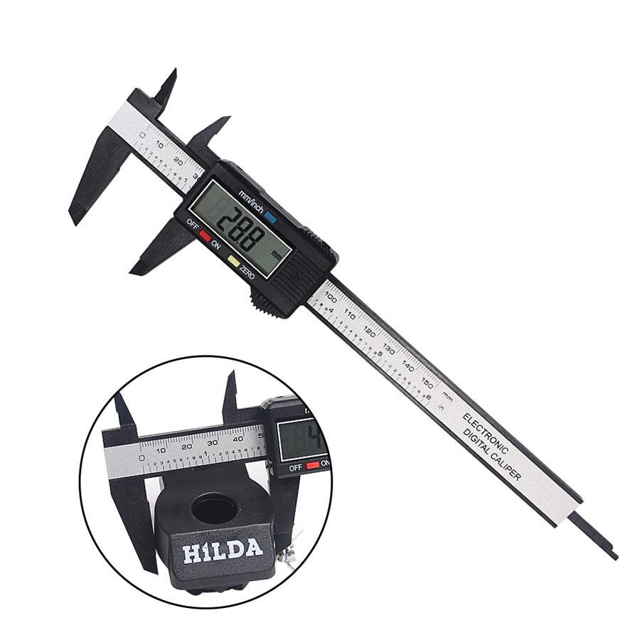 Digital Electronic Caliper Ruler Black Color Carbon Fiber Composite 6 inch 150 mm Vernier