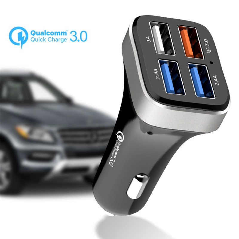Car Charger 4 USB Port Quick Charge 3.0 Smart Charger For iPhone XS Max XR X 8 7 6 6s Plus For Samsung S9 S8 S7 Edge Note 9 8